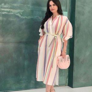Lemlem x H&M Kaftan Dress XS Stripe Midi Lyocell